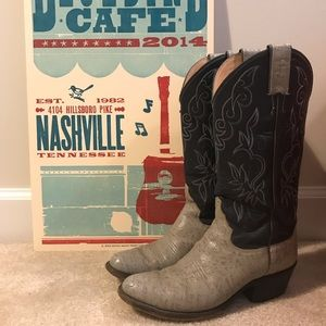Justin Western Boot Leather Gray & Denim Blue